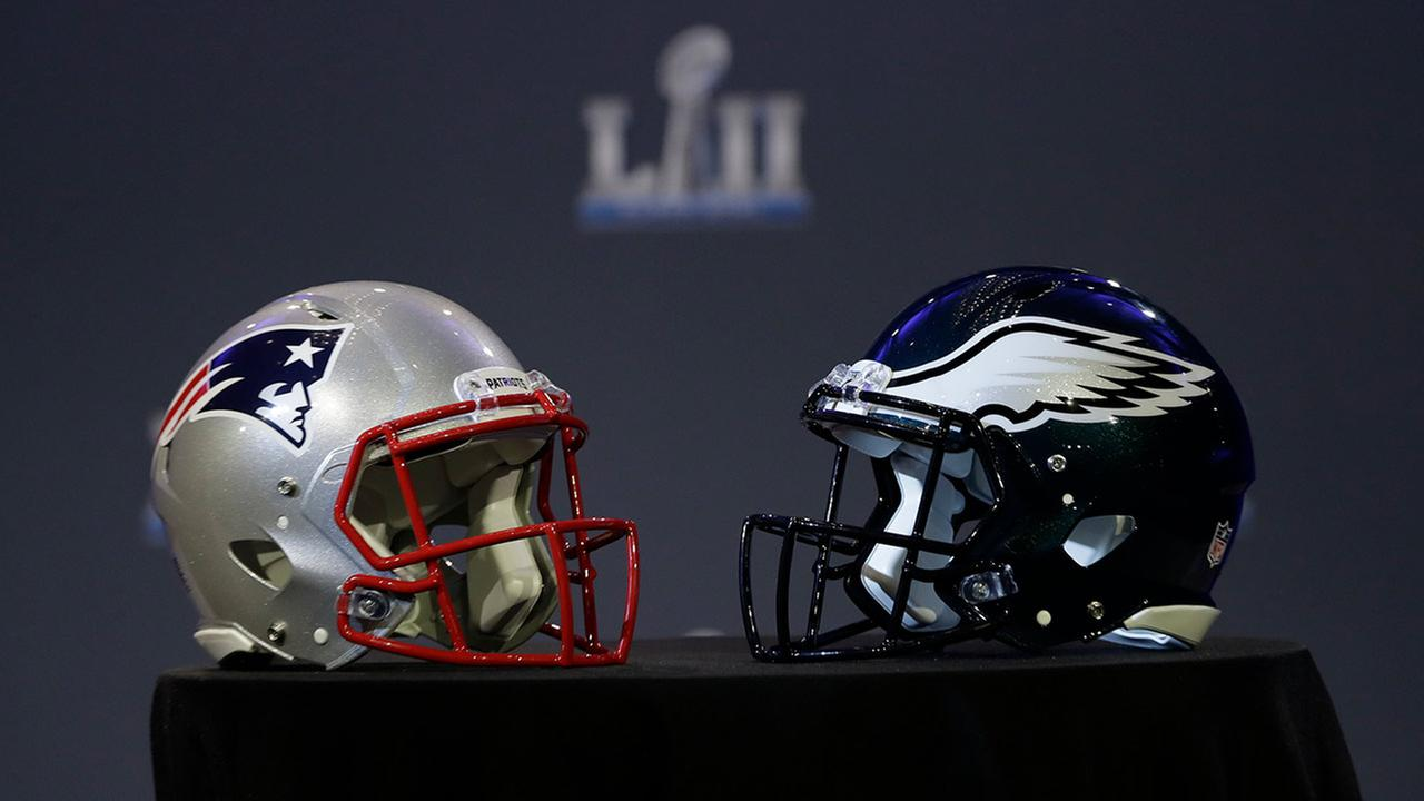 A New England Patriots helmet and Philadelphia Eagles helmet are seen Wednesday, Jan. 31, 2018, in Minneapolis.