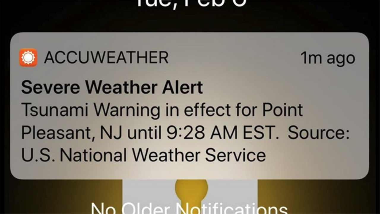 Tsunami warning alert meant as test goes out in error to app users.