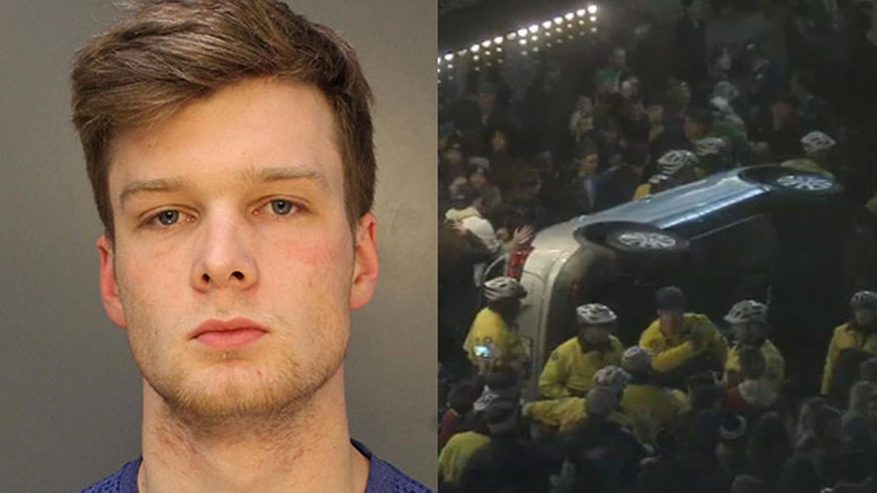 Man, 20, arrested for flipping car during Philadelphia Eagles celebration
