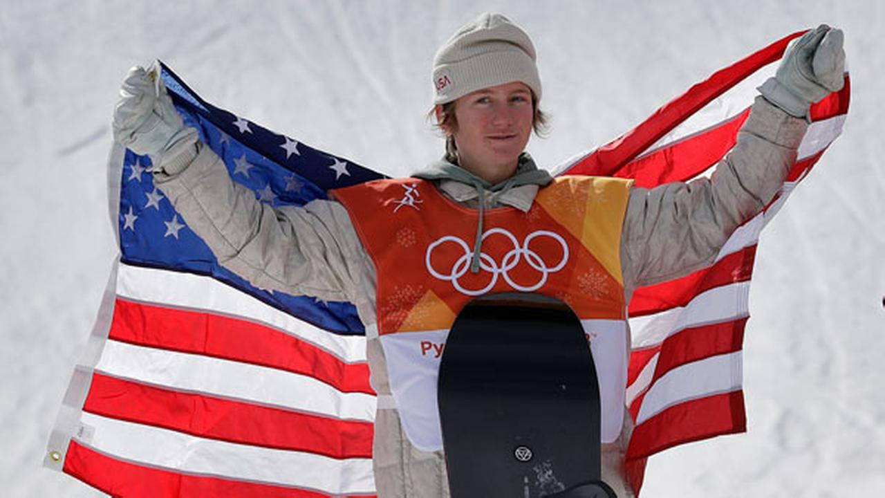 Red Gerard, of the United States, smiles after winning gold in the mens slopestyle final at Phoenix Snow Park at the 2018 Winter Olympics in Pyeongchang, South Korea.