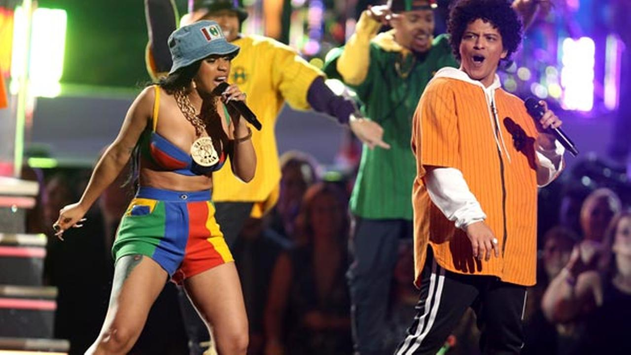 Bruno Mars and Cardi B perform Finesse at the 60th annual Grammy Awards at Madison Square Garden on Sunday, Jan. 28, 2018, in New York.