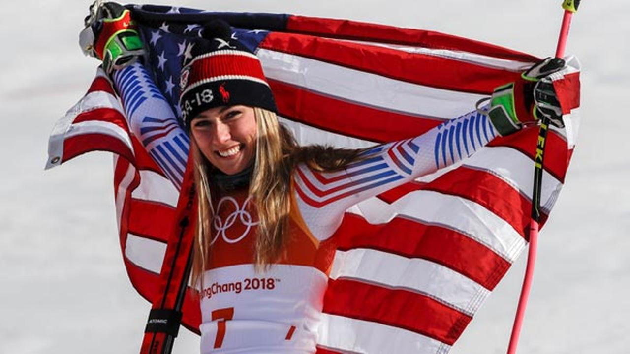 Mikaela Shiffrin, of the United States, celebrate her gold medal during the venue ceremony at the Womens Giant Slalom at the 2018 Winter Olympics in Pyeongchang, Feb. 15, 2018.
