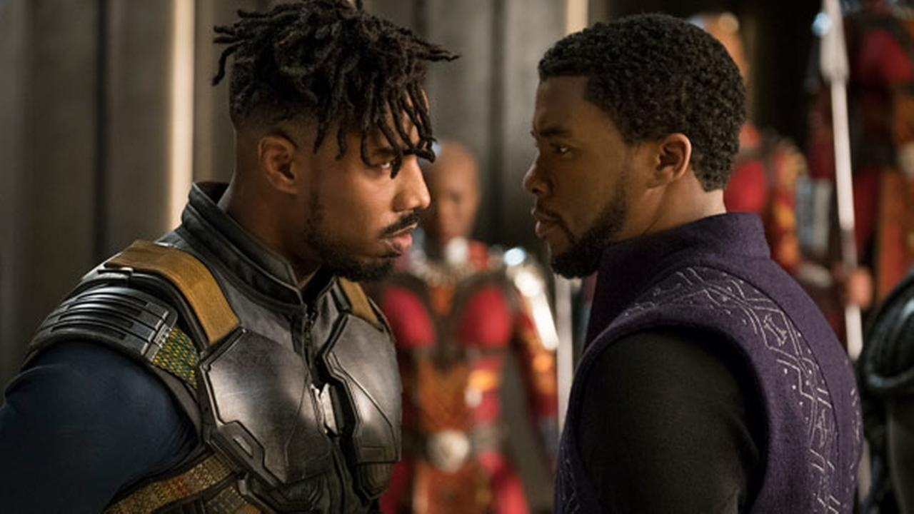 This image released by Disney shows Michael B. Jordan, left, and Chadwick Boseman in a scene from Marvel Studios Black Panther.