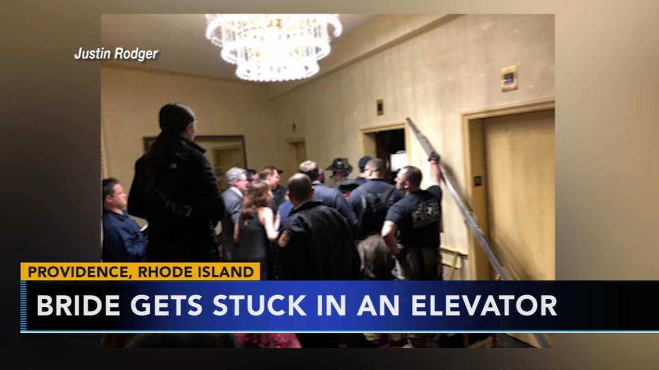Bride gets stucks in elevator