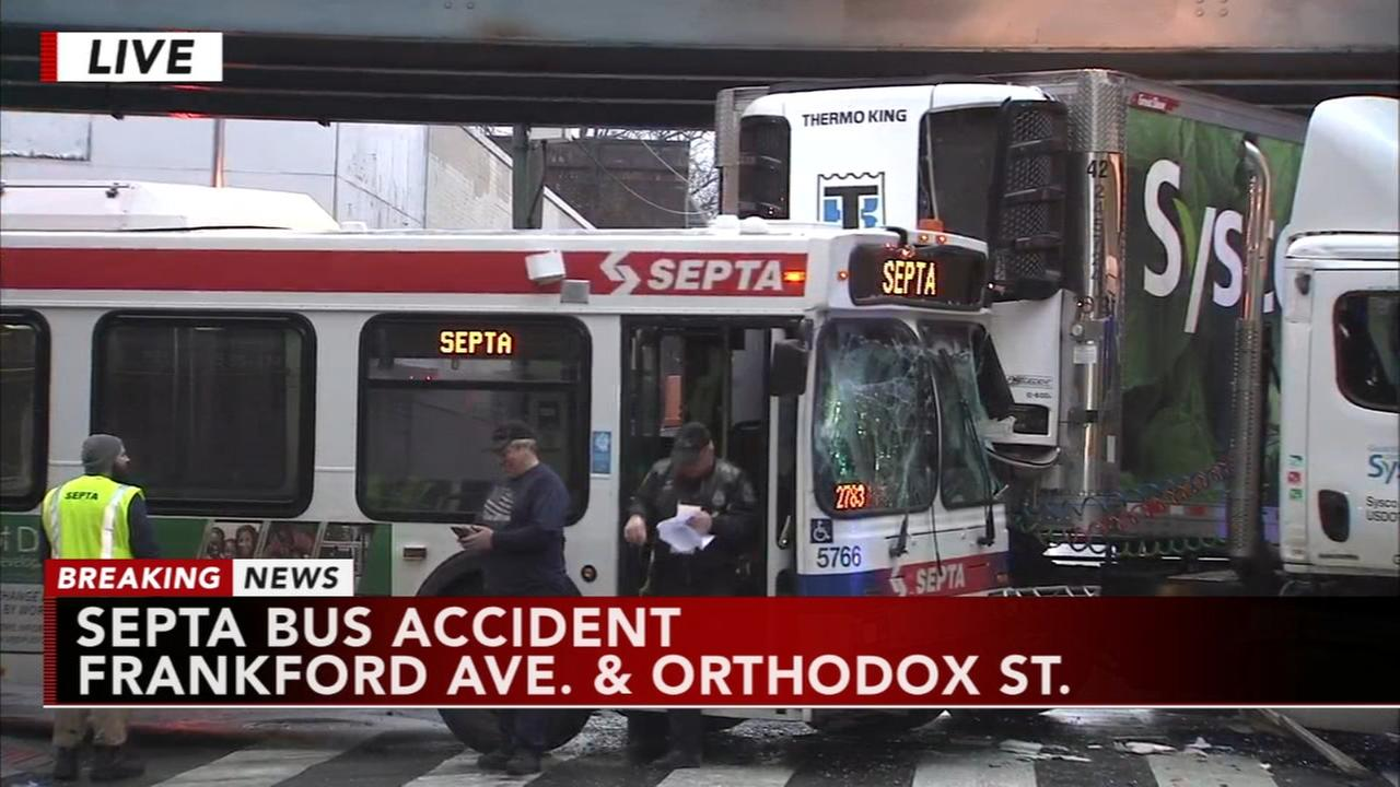 SEPTA bus collides with tractor-trailer in Frankford