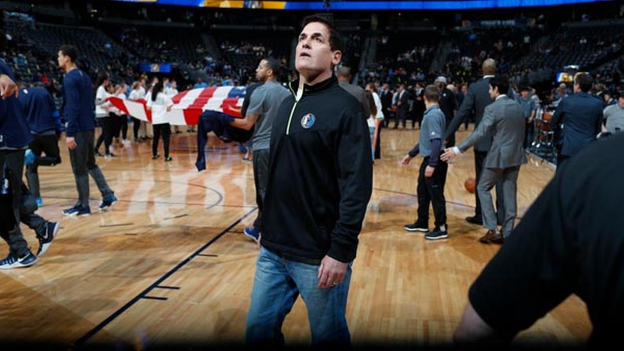 Dallas Mavericks owner Mark Cuban in the first half of an NBA basketball game Monday, Dec. 19, 2016, in Denver.