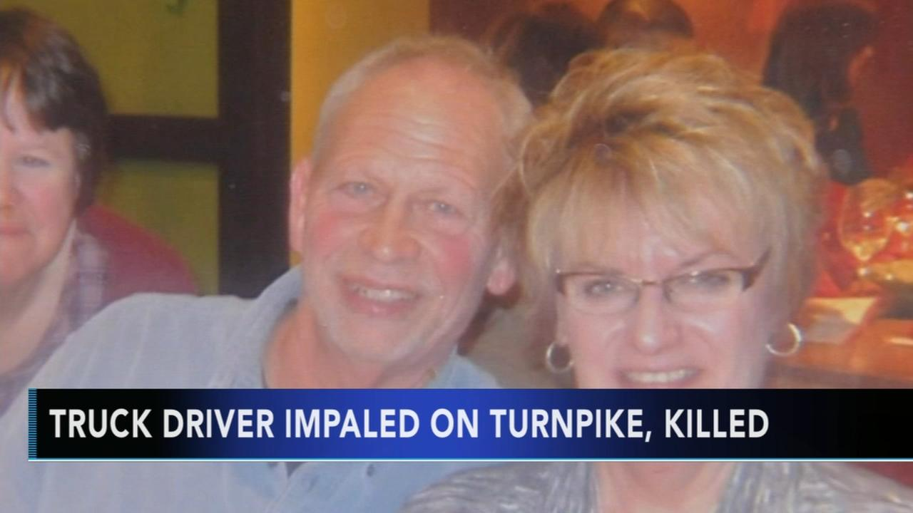 Truck driver impaled on turnpike, killed