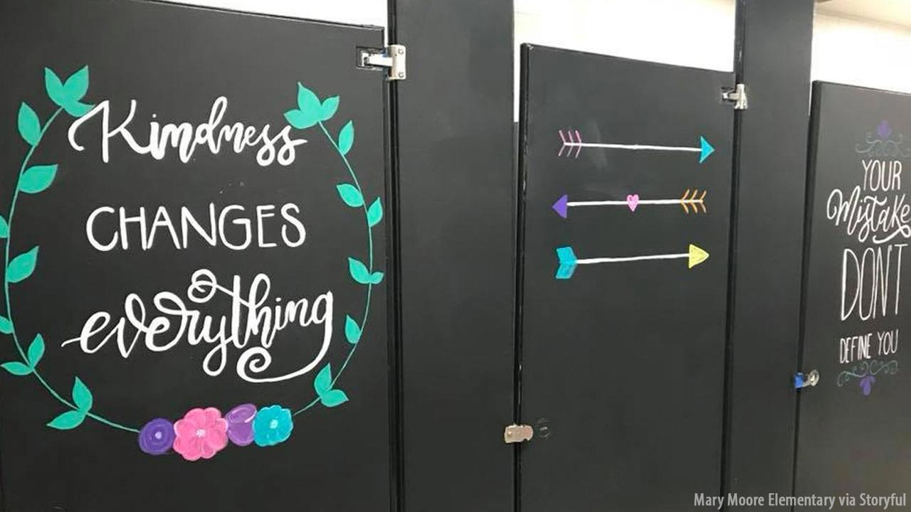 Elementary School Parents Paint Uplifting Messages On