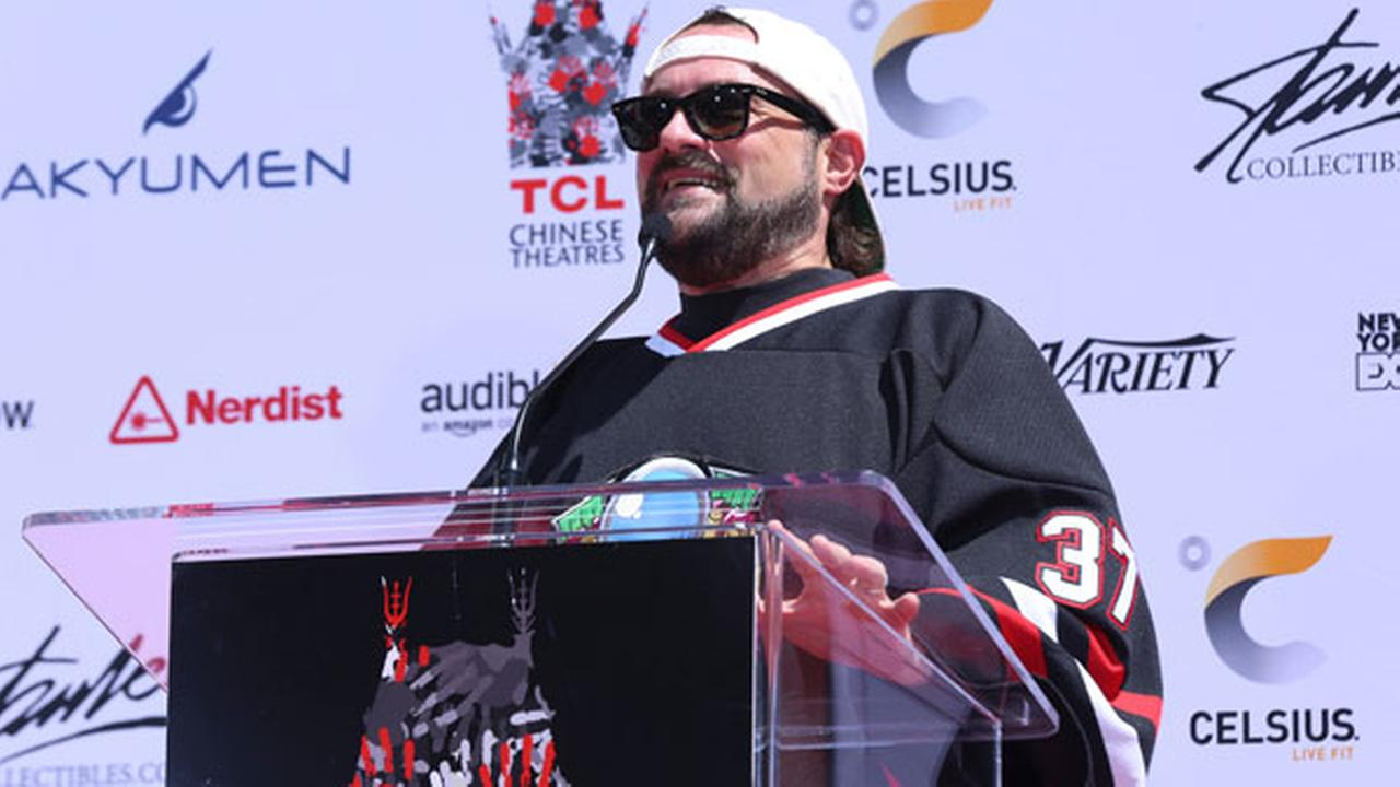 Kevin Smith speaks at the Stan Lee hand and footprint ceremony at the TCL Chinese Theatre on Tuesday, July 18, 2017, in Los Angeles.