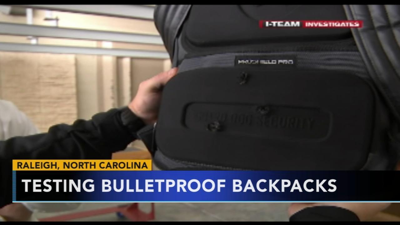 Bulletproof backpacks being tested