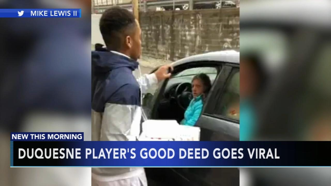 Duquesne player delivers food to woman living in car