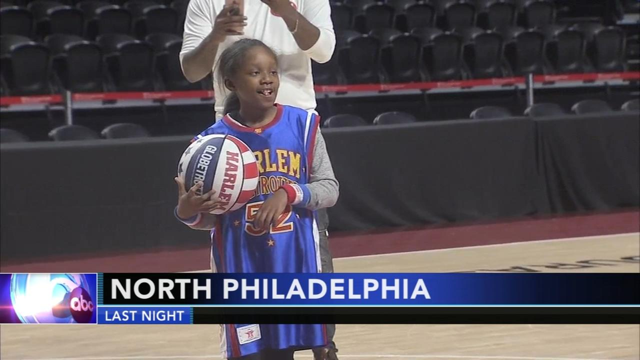 Young girl with brain tumor joins Harlem Globetrotters