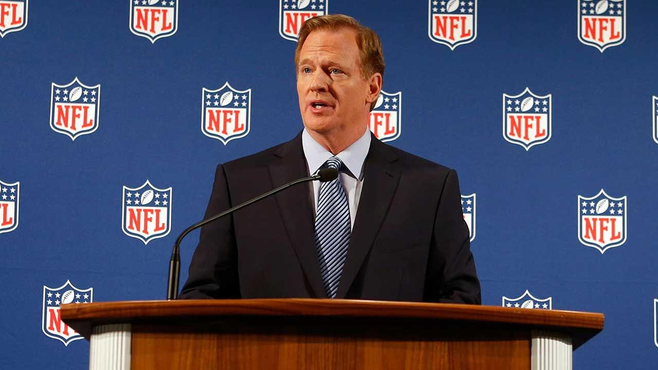 NFL commissioner Roger Goodell talks during a news conference addressing the rash of NFL players involved in domestic violence, Friday, Sept. 19, 2014, in New York.