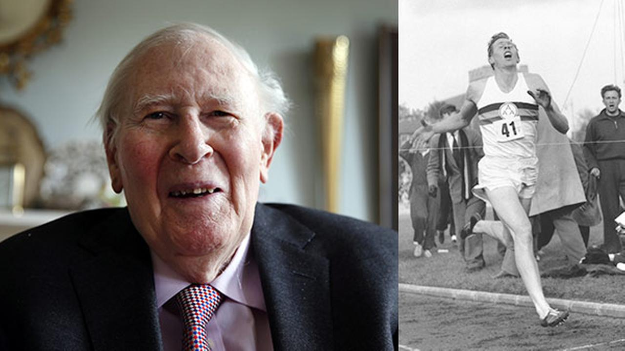 FILE - Photo taken Monday, April 28, 2014, Roger Bannister/ In this May 6, 1954 file photo, Bannister hits the tape to break the four-minute mile in Oxford, England.