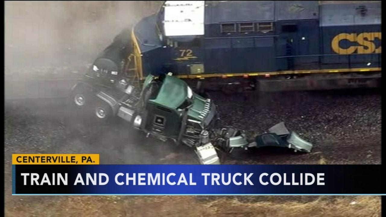 Train hits truck carrying hydrochloric acid; 15 evacuated