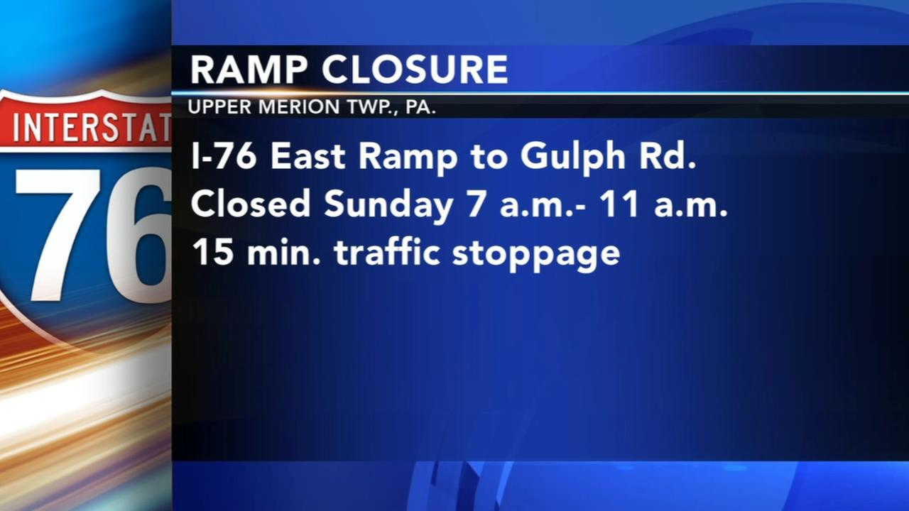 I-76 ramp to be closed Sunday in Upper Merion Township