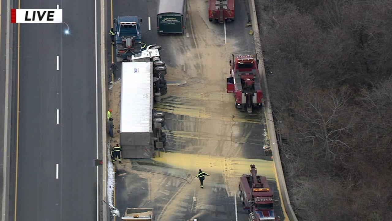 Tractor trailer spills egg yolks on I76