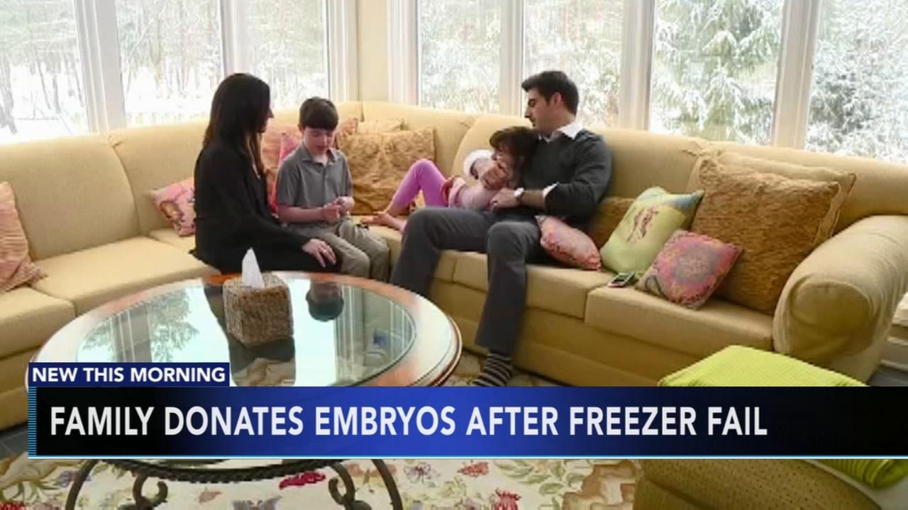 Family donates embryos after freezer fail