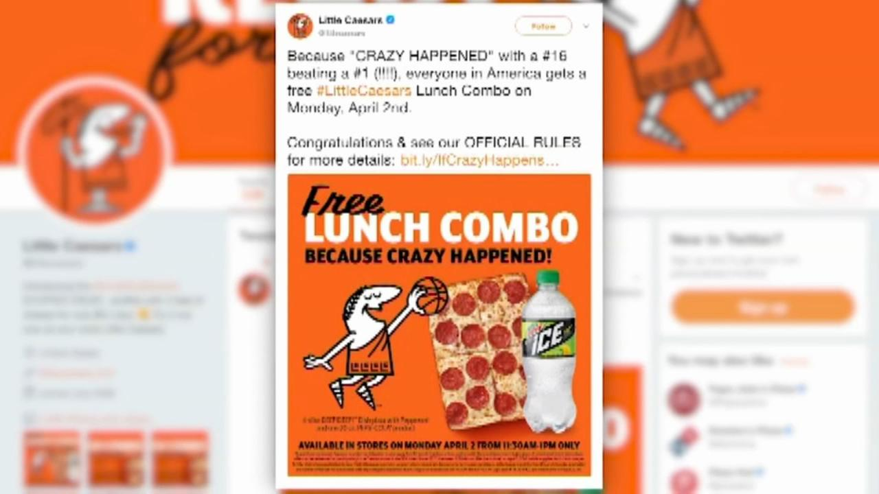 Free pizza after March Madness history