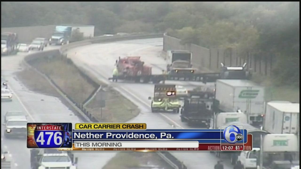 VIDEO: Car carrier spins out, blocks part of I-476 SB