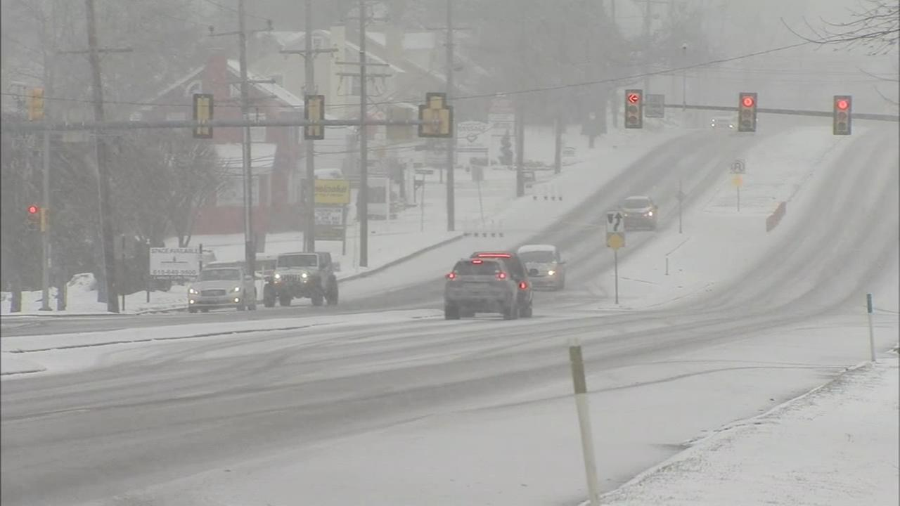 Snowfall covers roads in Chester Co.