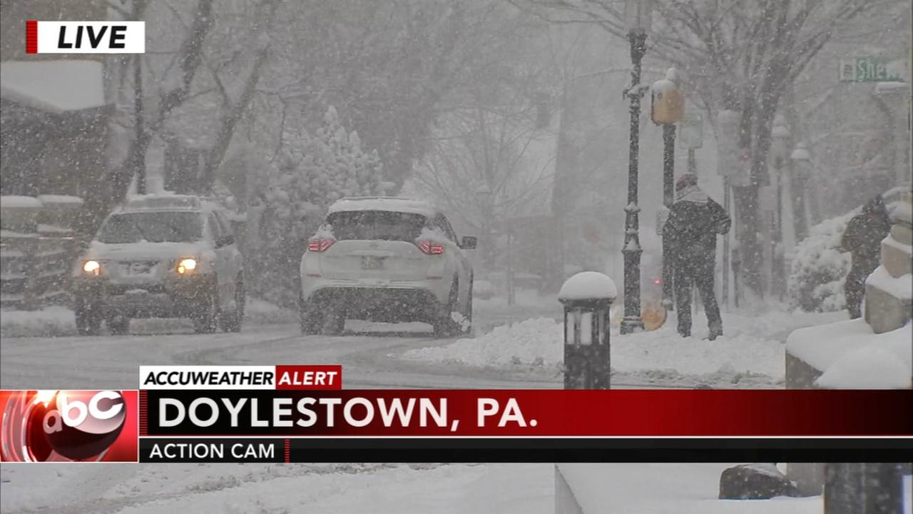 Snow continues to fall in Doylestown