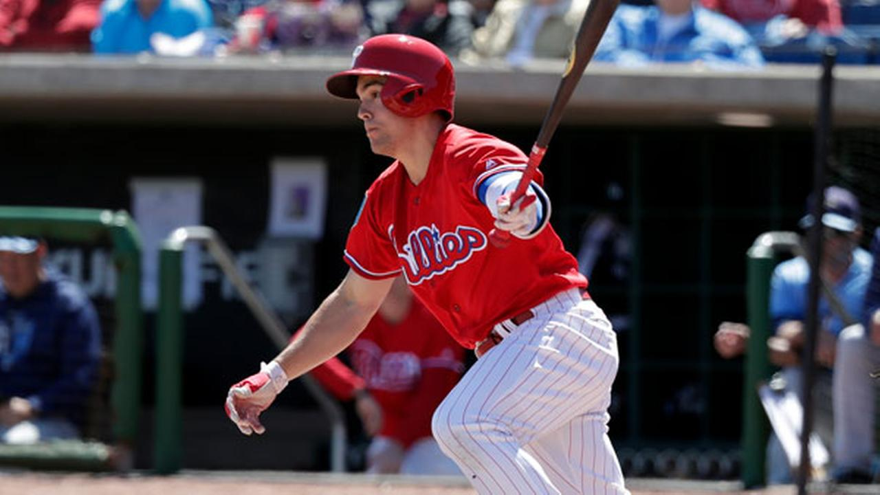 FILE - In this March 13, 2018, file photo, Philadelphia Phillies Scott Kingery bats in a spring baseball exhibition game against the Tampa Bay Rays, in Clearwater, Fla.