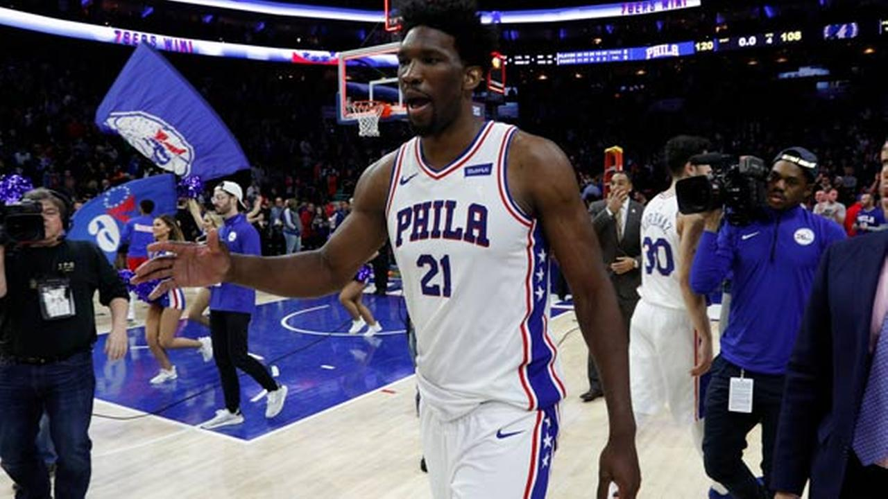 Philadelphia 76ers Joel Embiid, of Cameroon, reacts following a game against the Minnesota Timberwolves, Saturday, March 24, 2018, in Philadelphia.