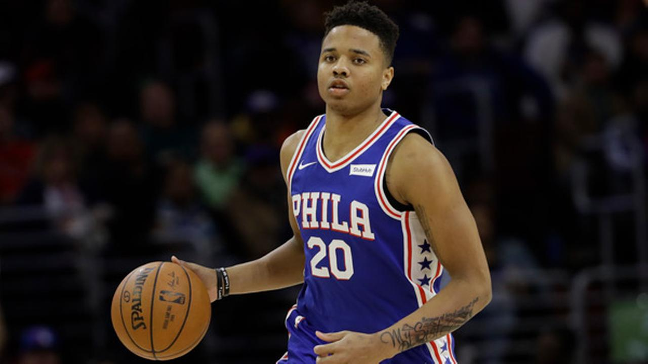 Philadelphia 76ers Markelle Fultz in action during an NBA basketball game against the Denver Nuggets, Monday, March 26, 2018, in Philadelphia.