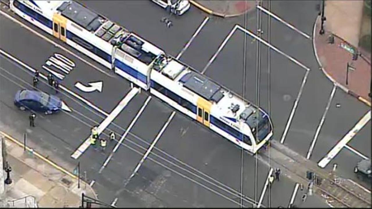 Car hit by RiverLine train in Burlington, New Jersey