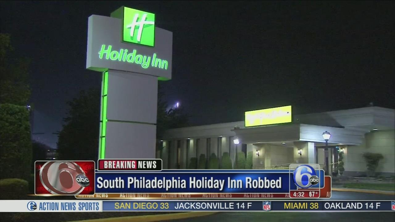 VIDEO: Suspect sought in Holiday Inn robbery in South Philadelphia