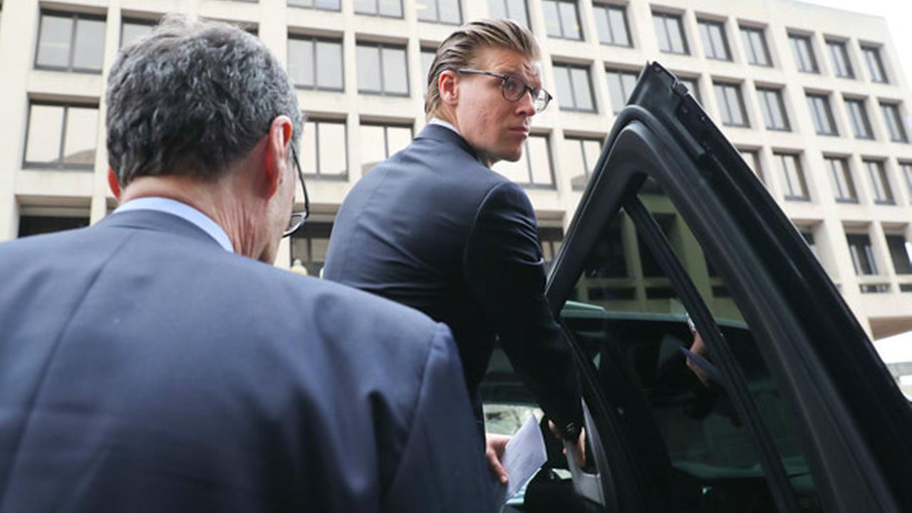 Alex van der Zwaan enters his vehicle as he leaves Federal District Court in Washington, Tuesday, April 3, 2018.