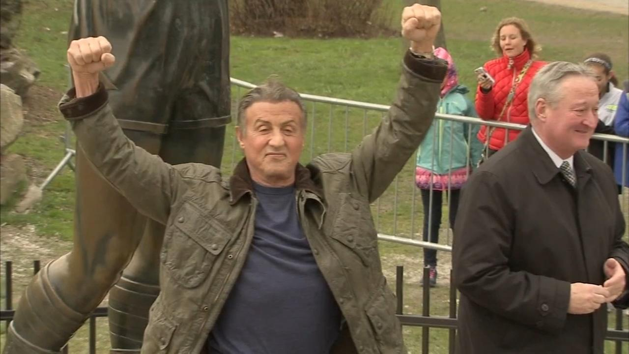 Sylvester Stallone surprises fans with visit to Rocky statue