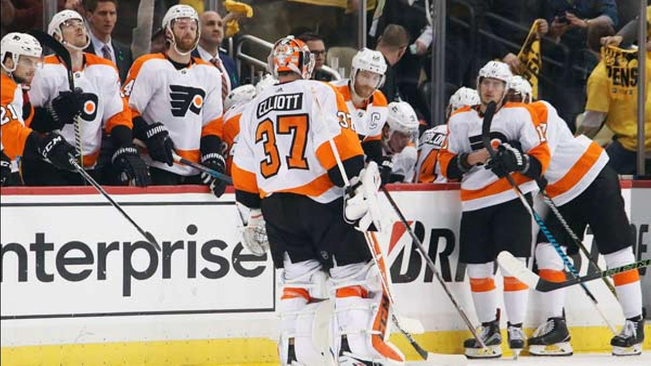 Philadelphia Flyers goaltender Brian Elliott (37) skates to the bench after being pulled during the second period in Game 1 of an NHL first-round playoffs against the Penguins.