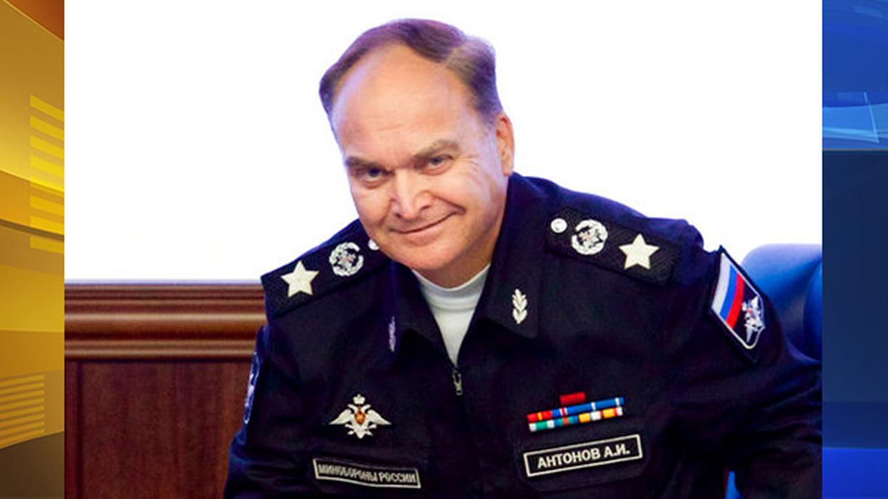 FILE - In this file photo taken on Friday, Oct. 7, 2016, Russian Deputy Defense Minister Anatoly Antonov smiles at a briefing in the Defense Ministry in Moscow, Russia.