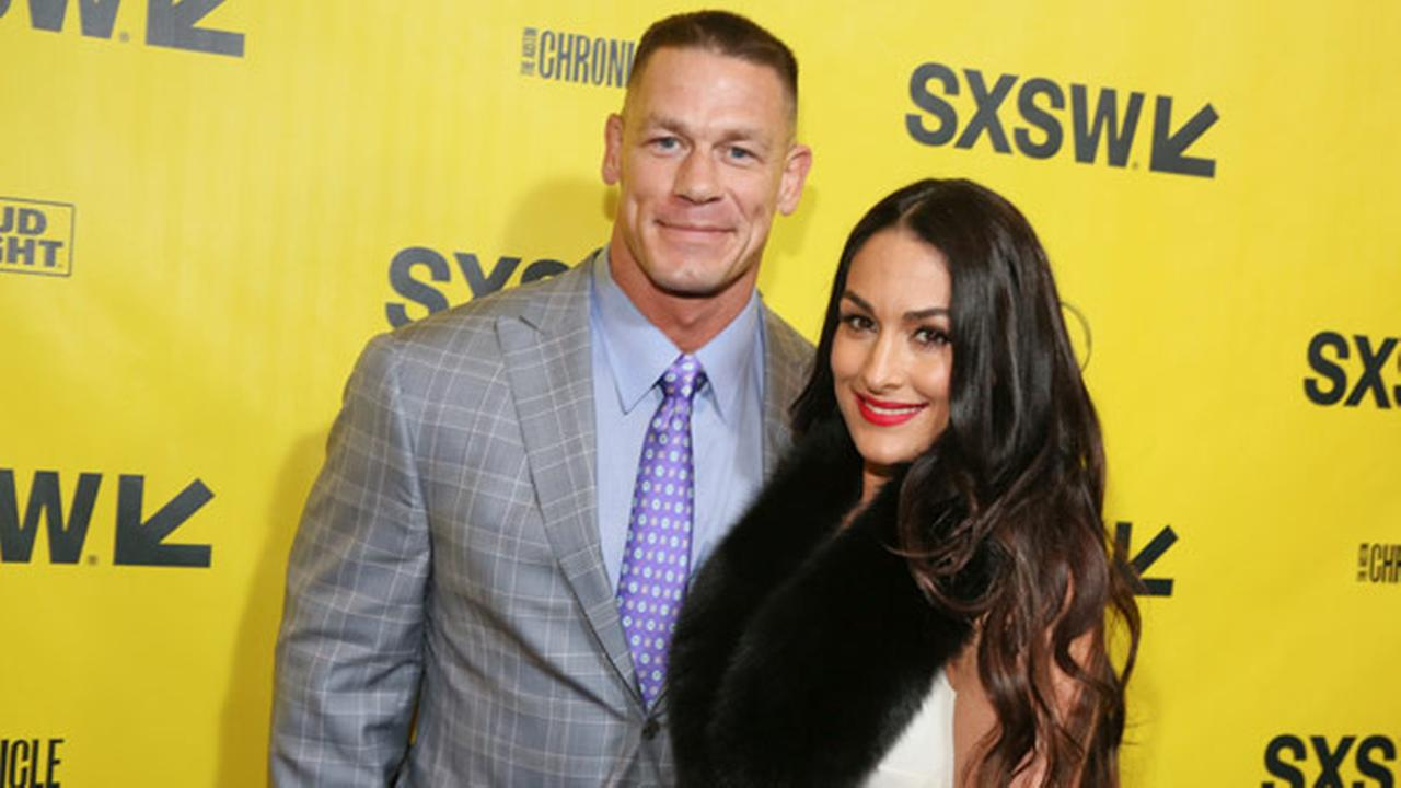 John Cena and his fiance, Nikki Bella, arrive for the world premiere of Blockers during the South by Southwest Film Festival.