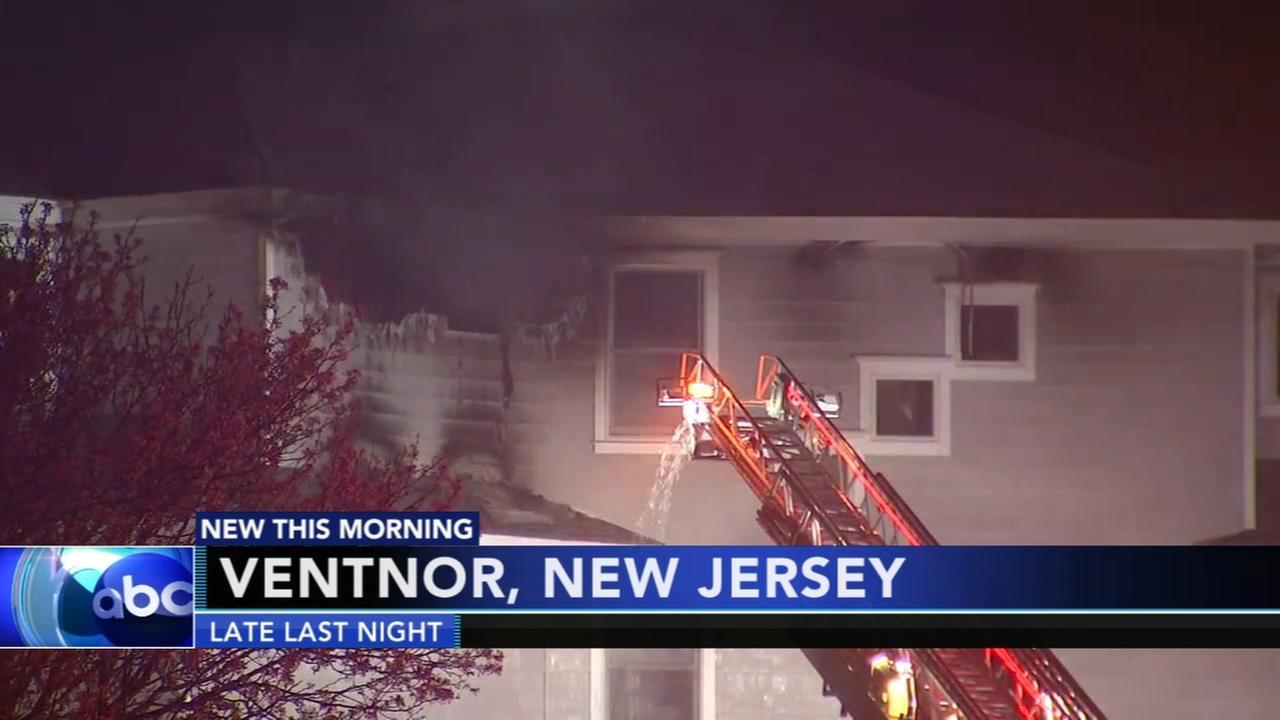 3-alarm fire in Ventnor, New Jersey