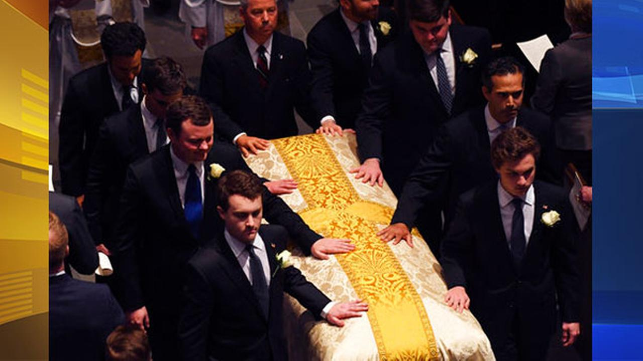 Pallbearers carry the casket of former first lady Barbara Bush after a funeral service for former first lady Barbara Bush at St. Martins Episcopal Church.