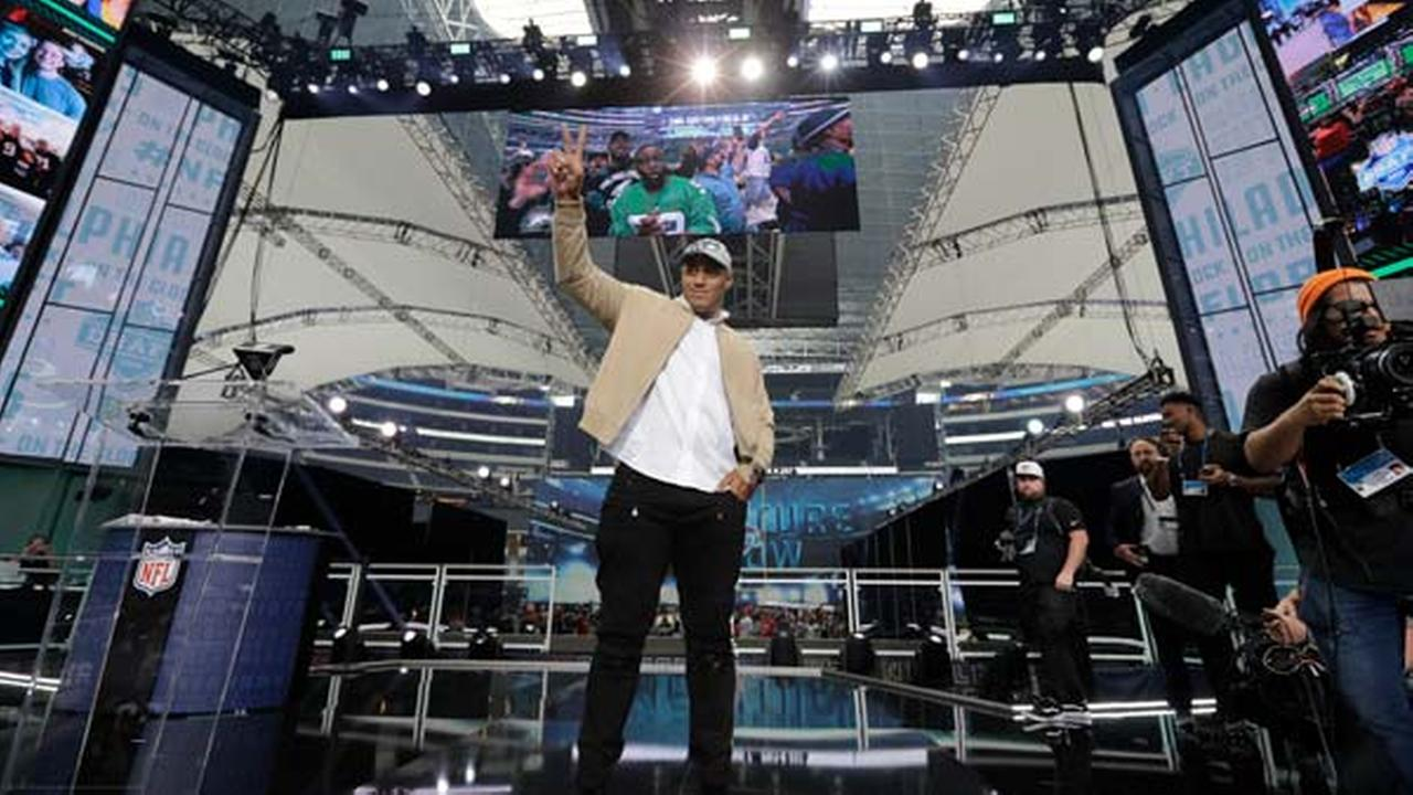 Australian rugby player Jordan Mailata appears onstage after being selected by the Philadelphia Eagles in the 7th round of the NFL Draft, Saturday, April 28, 2018 in Texas.