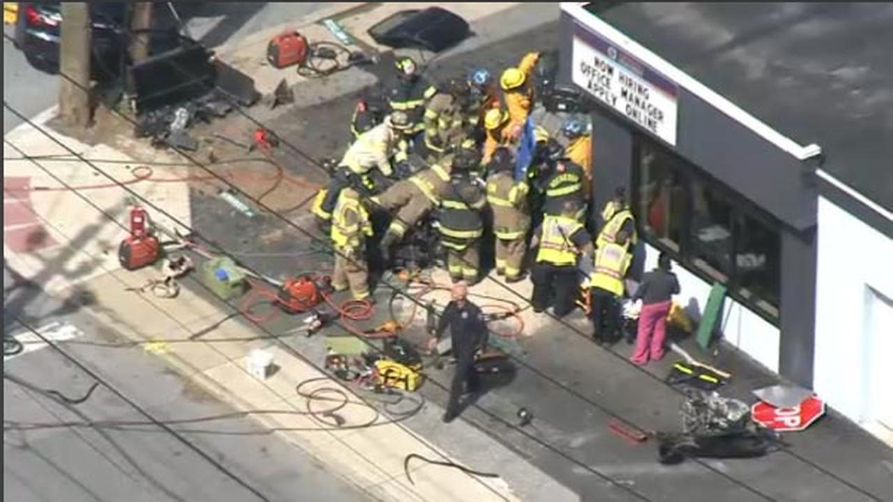 Rescuers free teen victim after vehicle hits building in Elsmere, Del.