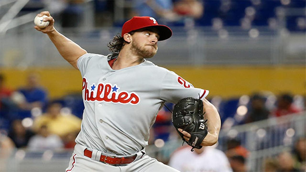 Philadelphia Phillies Aaron Nola delivers a pitch during the first inning of the teams baseball game against the Miami Marlins, Wednesday, May 2, 2018, in Miami.