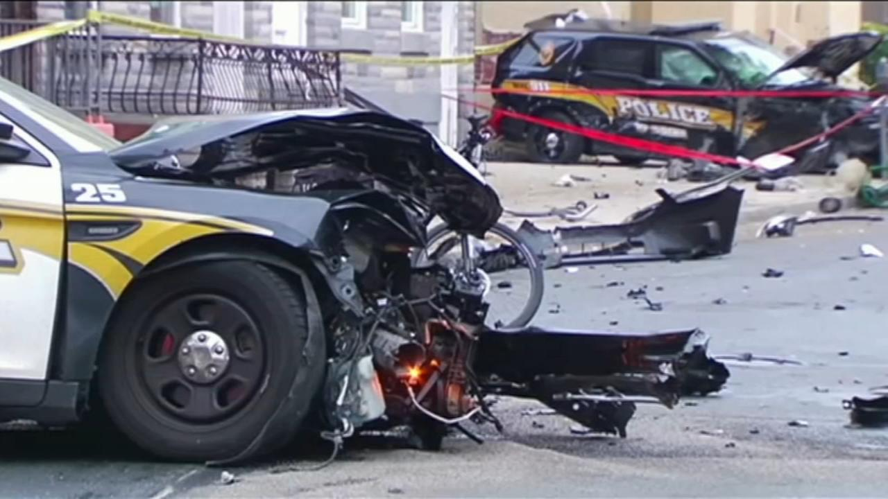 Police vehicles collide in Reading