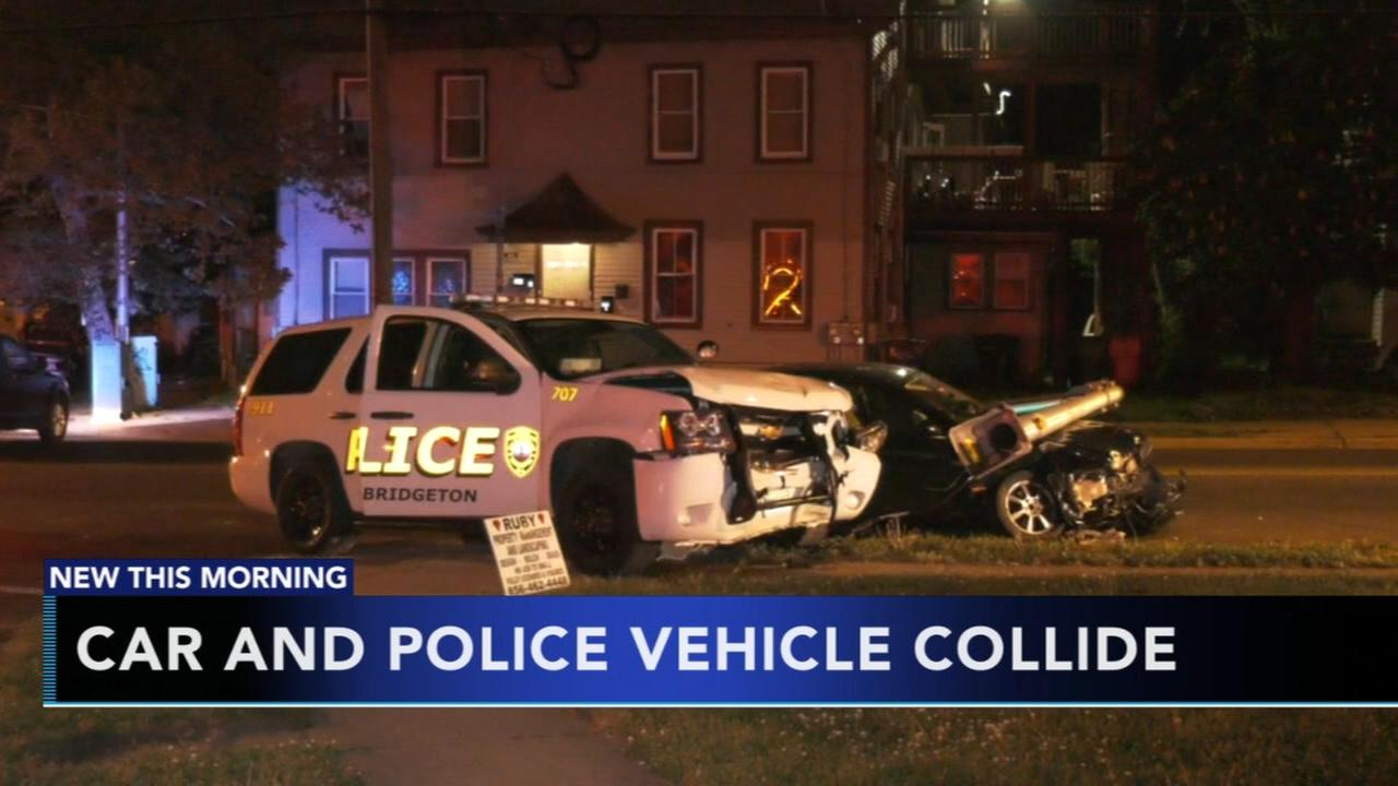 Police vehicle collides with car in NJ