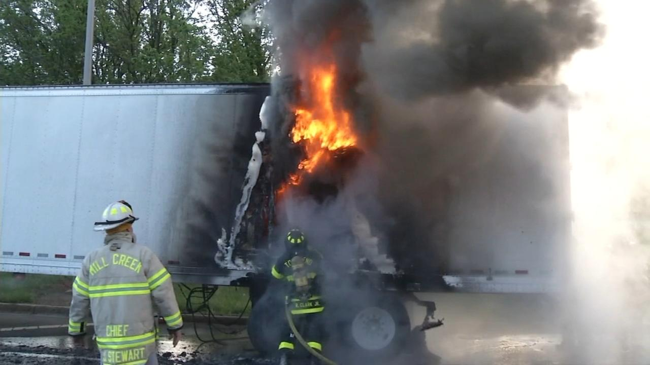 Tractor-trailer catches fire in Milltown, Del.