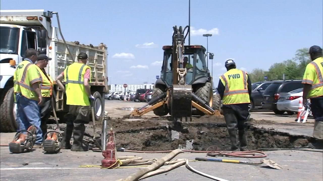 Repairs of broken water main underway at PHL