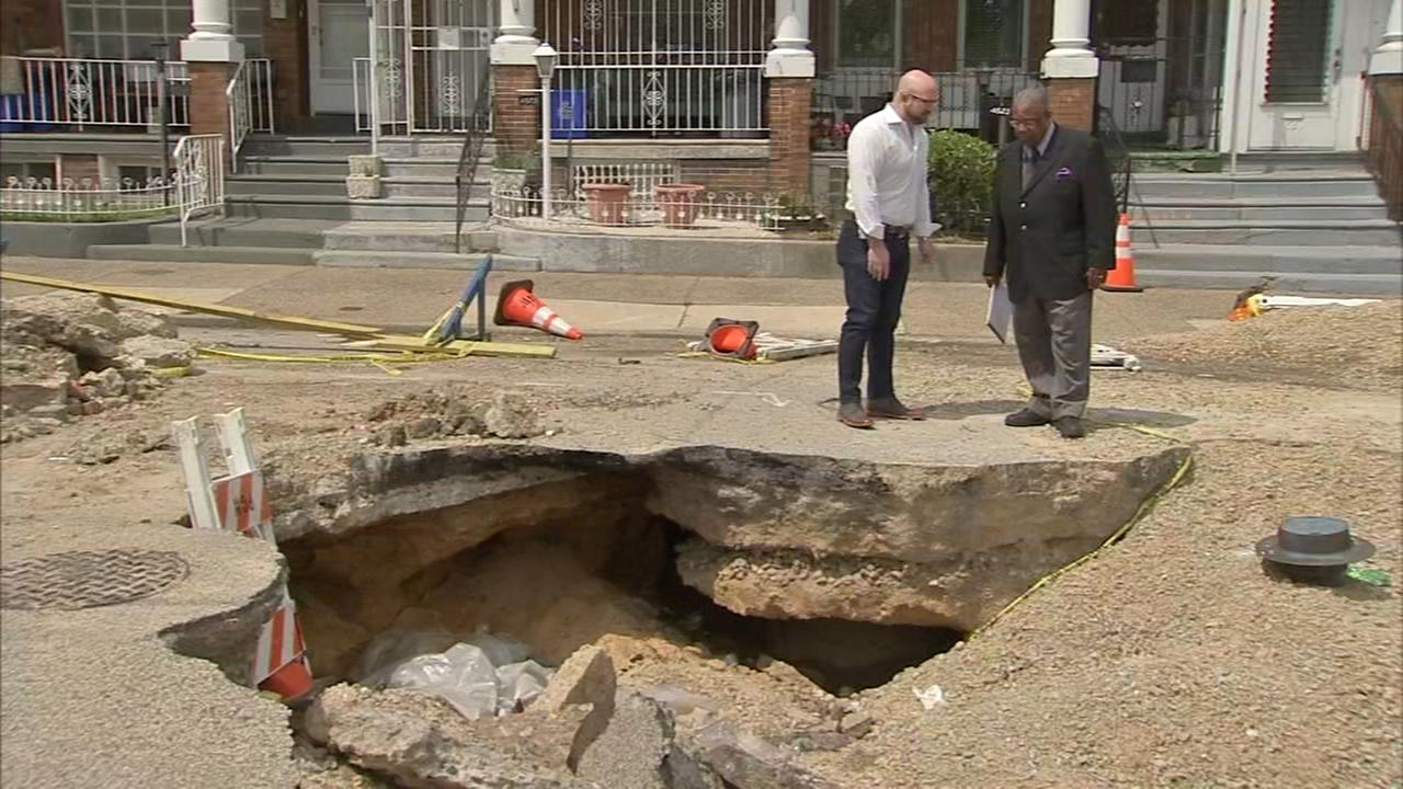 Pothole becomes crater in West Philadelphia street