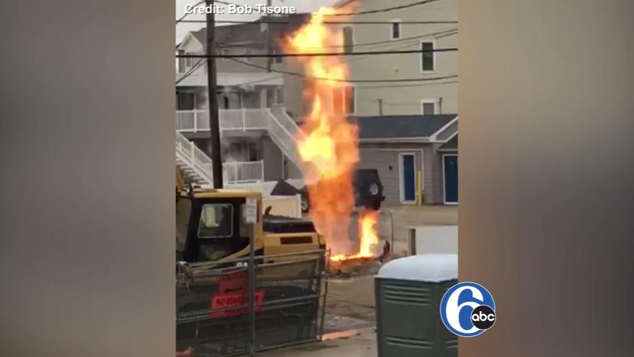 Flames erupt after gas line break in North Wildwood