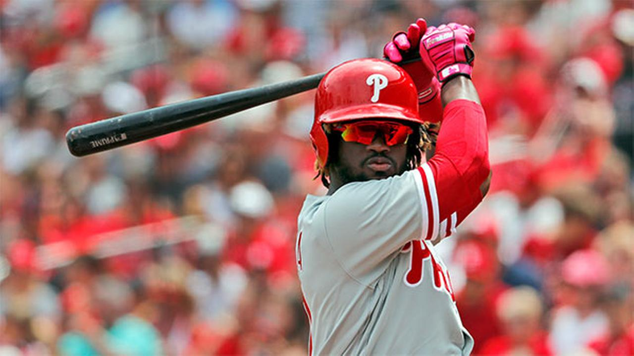 Philadelphia Phillies Odubel Herrera prepares to bat during the first inning of a baseball game against the St. Louis Cardinals Saturday, May 19, 2018, in St. Louis.