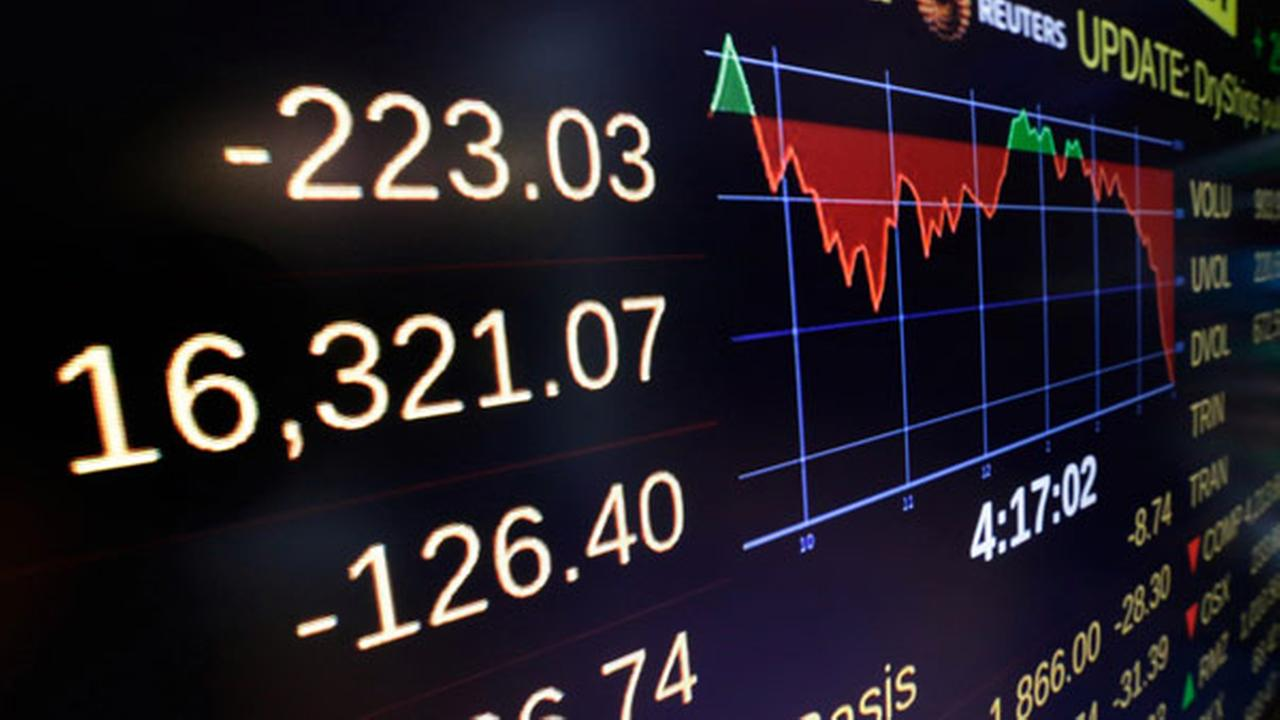 A screen above the trading floor shows the closing number for the Dow Jones industrial average, at the New York Stock Exchange, Monday, Oct. 13, 2014.