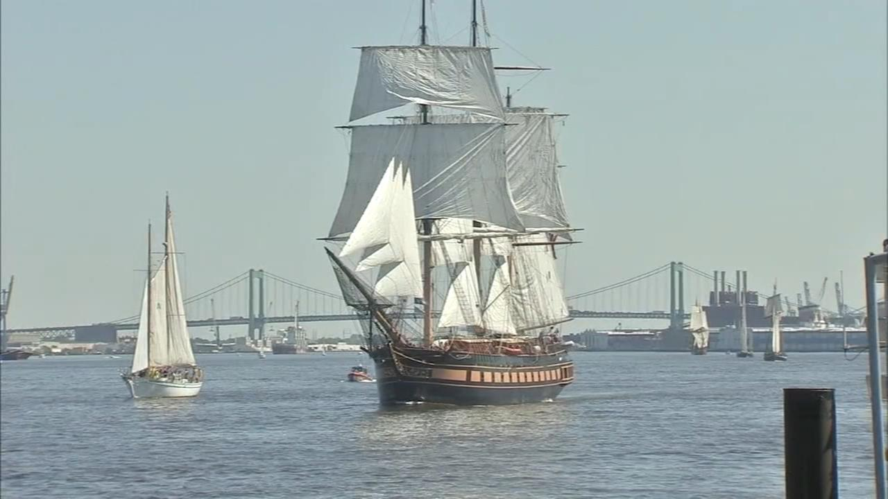 Majestic sight as tall ships sail on the Delaware River